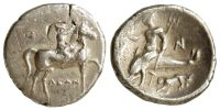 CALABRIA, TARENTUM, STATER (NOMOS), c.272-235 BC, HORSE AND RIDER RIGHT, TARAS ON DOLPHIN LEFT WITH LION BELOW, SNG ANS 1187