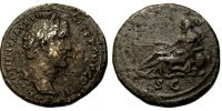 ANTONINUS PIUS, SESTERTIUS, ROME MINT, RECLINING PERSONIFICATION OF THE TIBER, RIC 642a